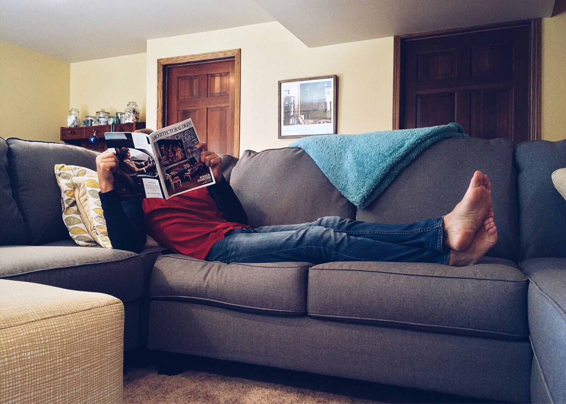 man sitting in a couch